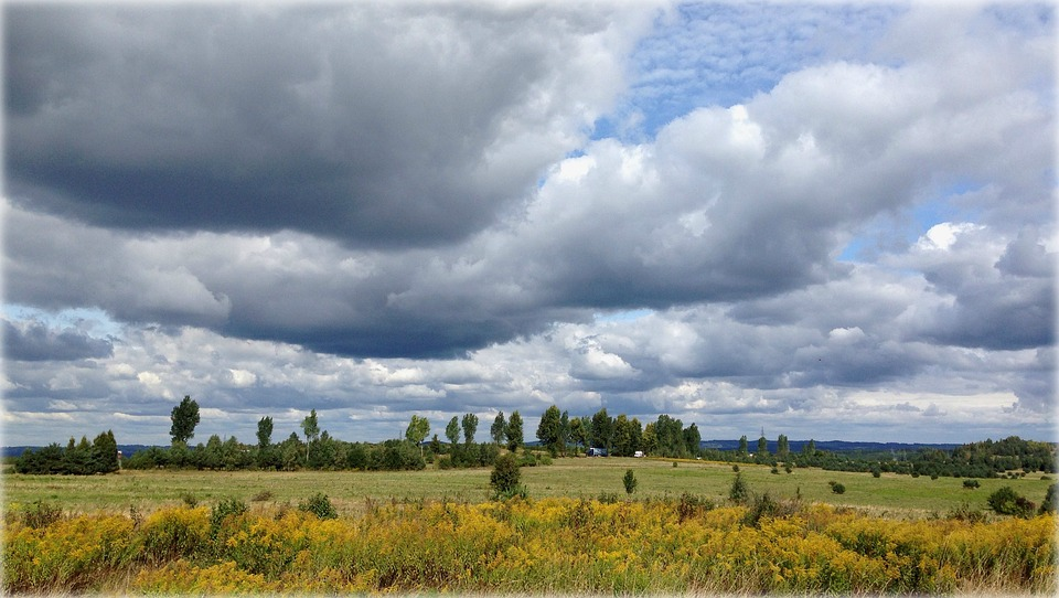 Olkusz, Poland, Landscape, Meadow, Clouds, Sky, Autumn