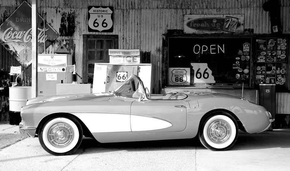 Corvette, Oltimer, Sports Car, Supermarket, Route 66