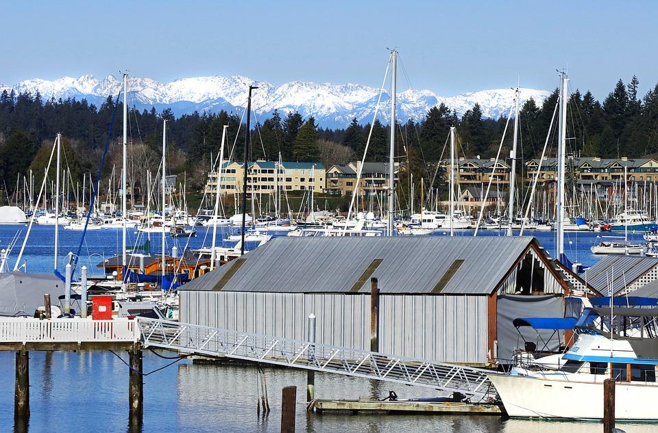 Washington, Puget, Sound, Marina, Olympic, Mountains