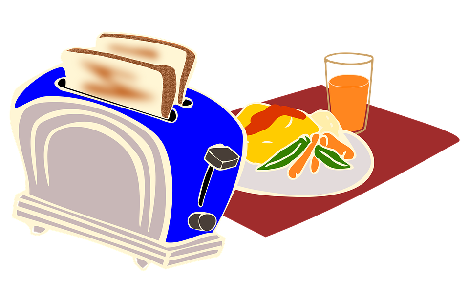 Breakfast, Toaster, Bread, Omelette, Kitchen