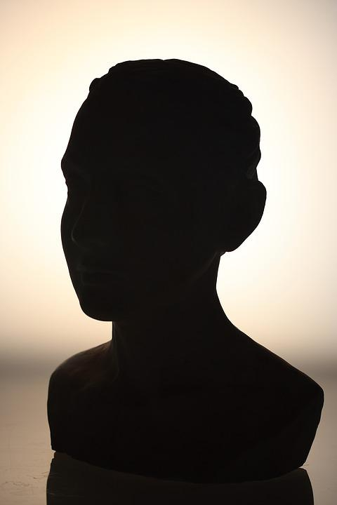 Sculpture, Bust, On, Sculptures, Light, Reverse Light