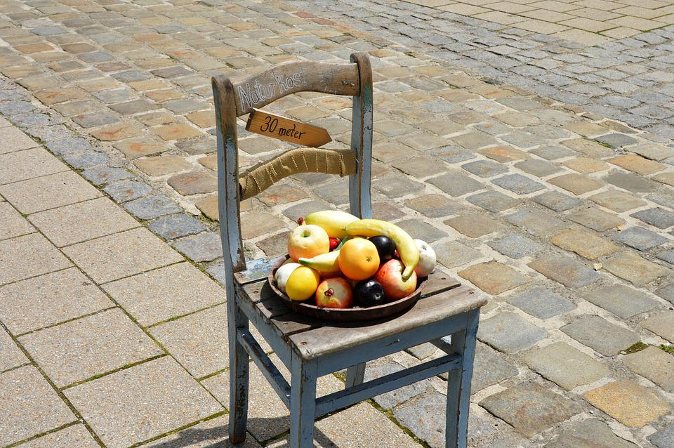 Summer Health Food, On Chair, With Paving Stones