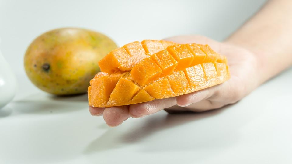 Mango, Slice, On Hand, Yellow, Isolated, Cube, Fruit