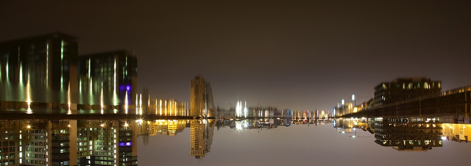 Water, City, Night, Mirroring, Channel, On The Water