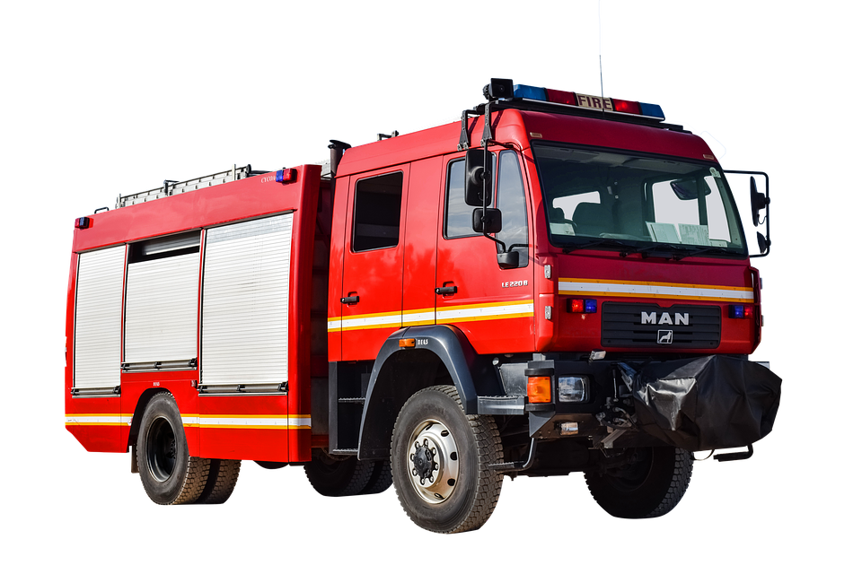 Fire, Vehicle, One, Isolated, Blue Light, Fire Fighting