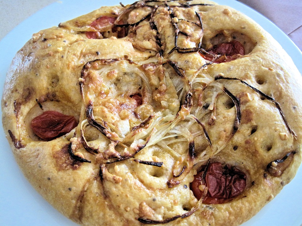 Focaccia, Bread, Onions, Tomatoe, Herbs, Food