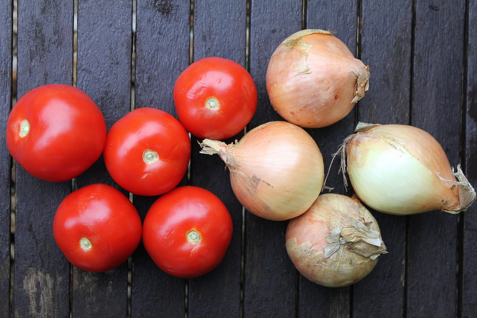 Tomatoes, Onions, Fruit And Veg, Collection, Healthy