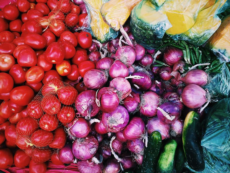 Market, Onions, Tomatoes, Vegetables