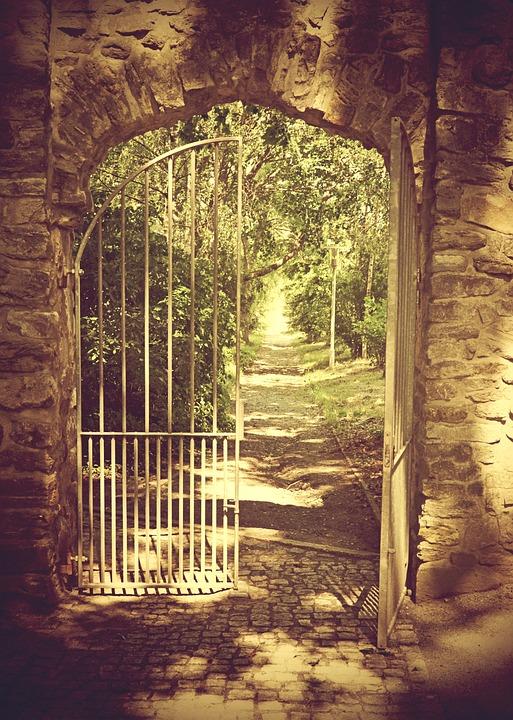 Iron Gate, Wall, Old, Open Door, Away, Open, Goal