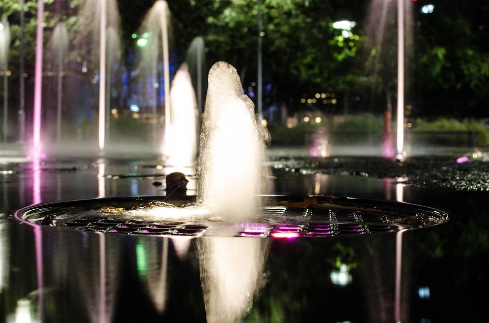 Light, Fountain, Open Shutter