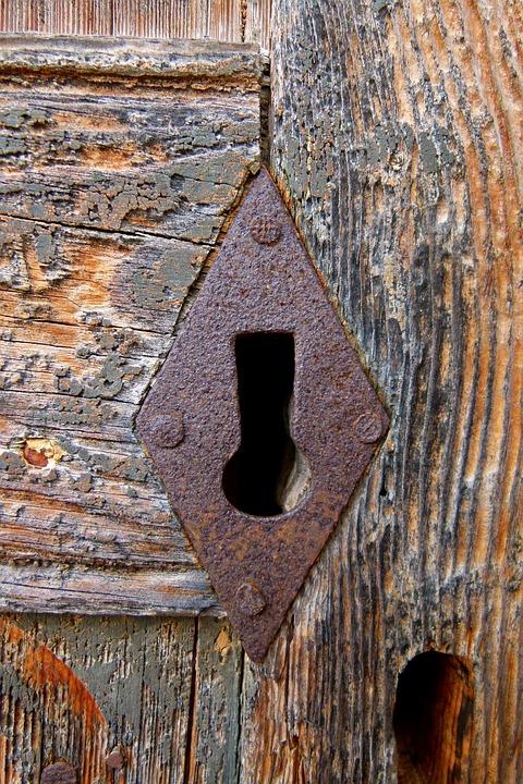 Lock, Keyhole, Open, Close, Old, Wood, Door, Wall