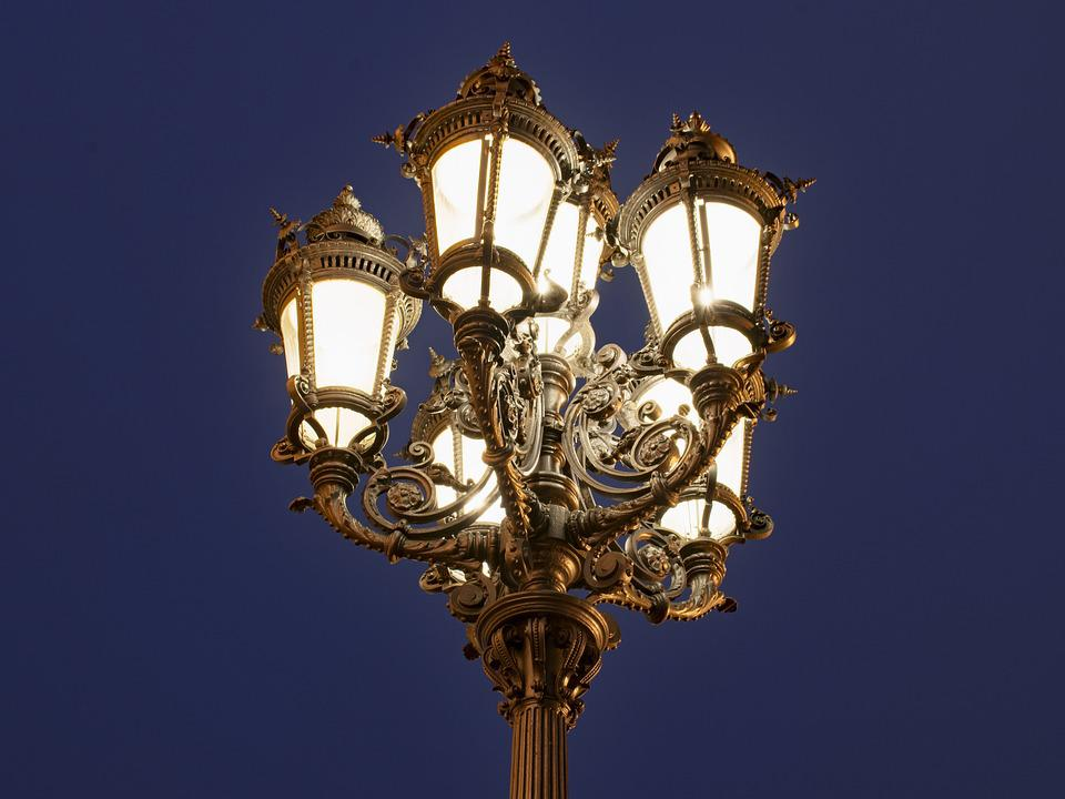 Frankfurt, Hesse, Germany, Opera Space, Lamp, Old