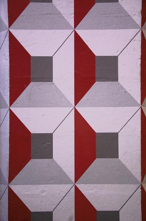 Optical Deception, White, Red, Geometry