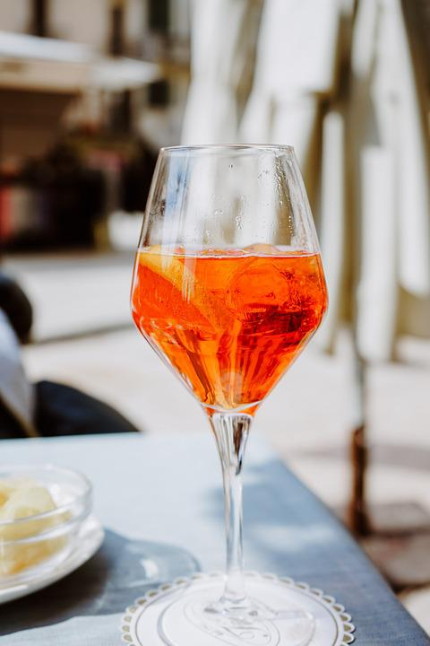 Spritz, Wine, Glass, Drink, Alcohol, Table, Orange, Bar
