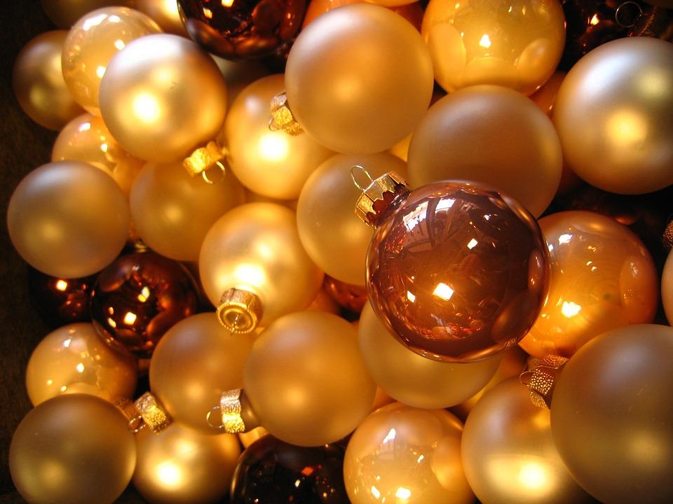 Balls, Christbaumkugeln, Glaskugeln, Yellow, Orange