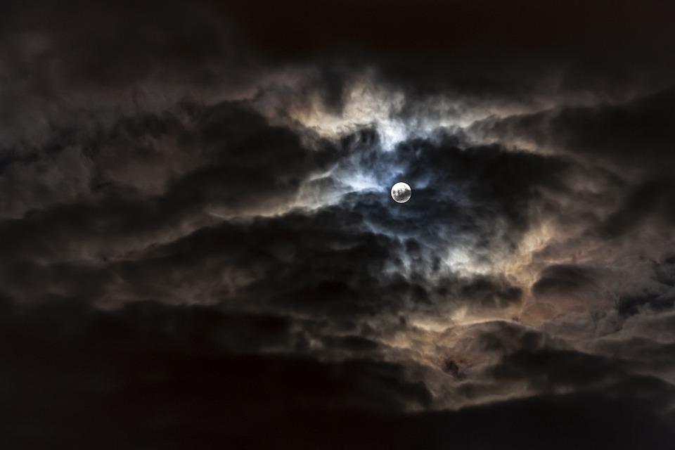 Moon, City, Clouds, Night, Sky, Dark, Orange Color
