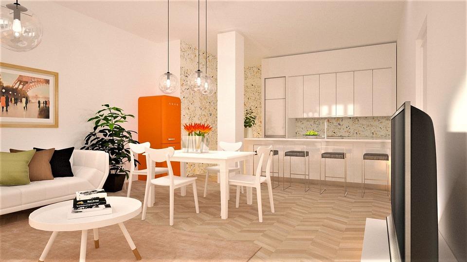 Kitchen, Orange, Fridge, Cook, Bar, Dining Room, Table