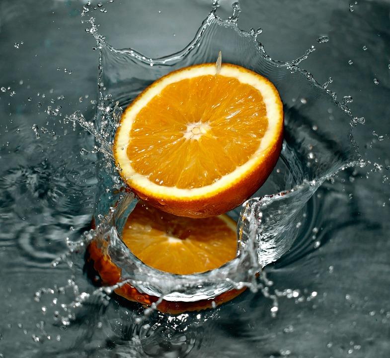 Orange, Falling, Water, Splash, Fresh, Fruit