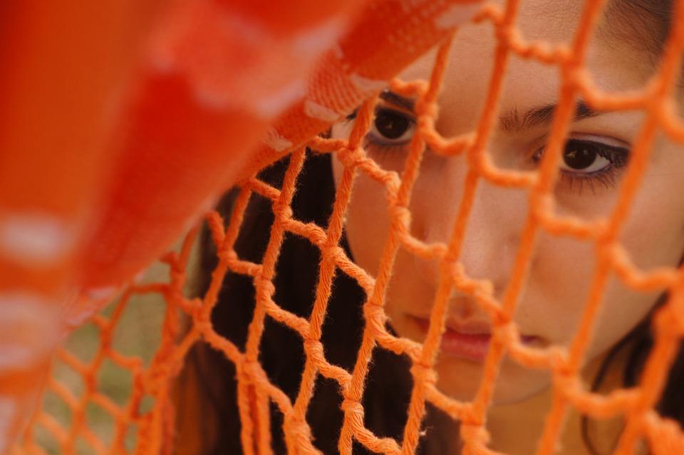 Girl, Women, Portrait, Orange, Hidden, Young