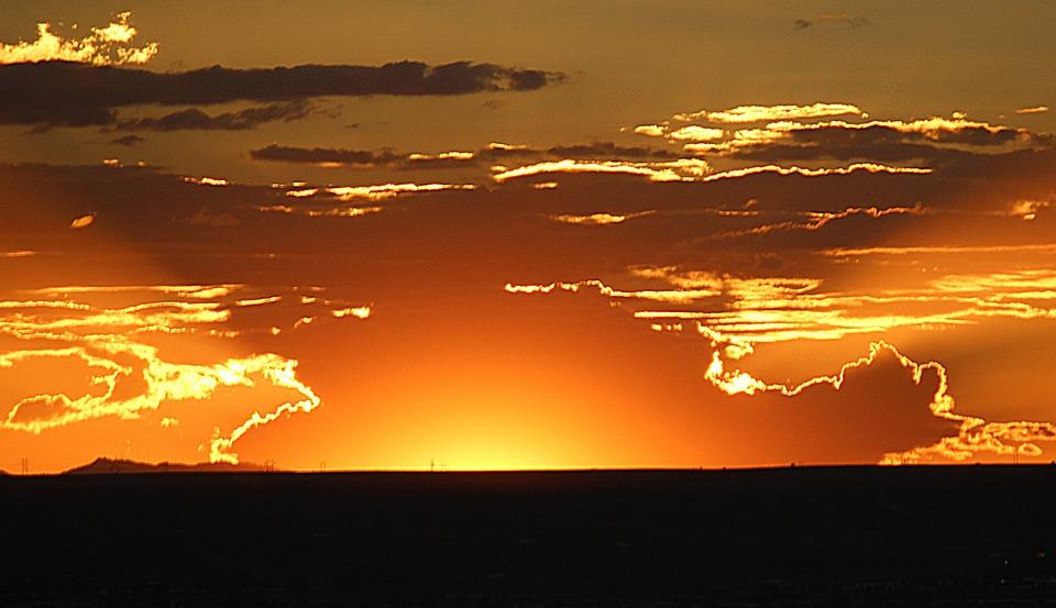 Sunset, Glow, Golden, Sky, Orange