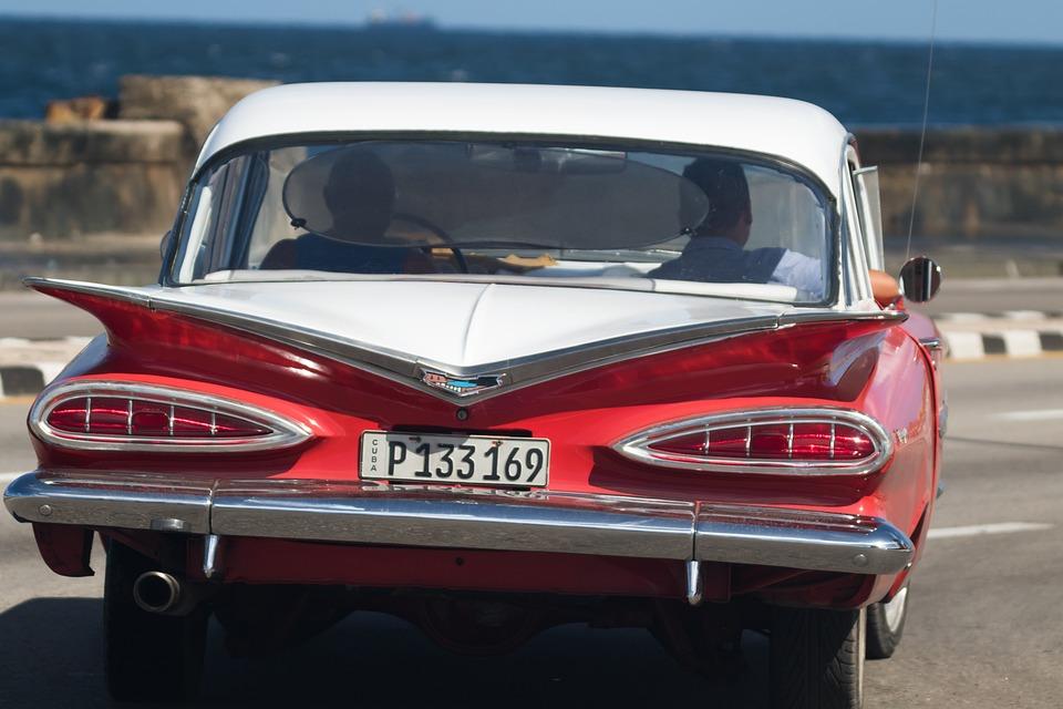 Cuba, Havana, Malecon, Chevy, Orange, Almendron, Car