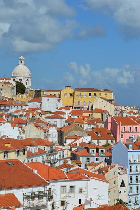 Lisbon, View, Roofs, Houses, Orange, Summer, Sun