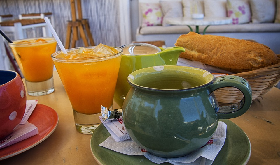 Breakfast, Tea, Orange Juice, Bread, Restaurant