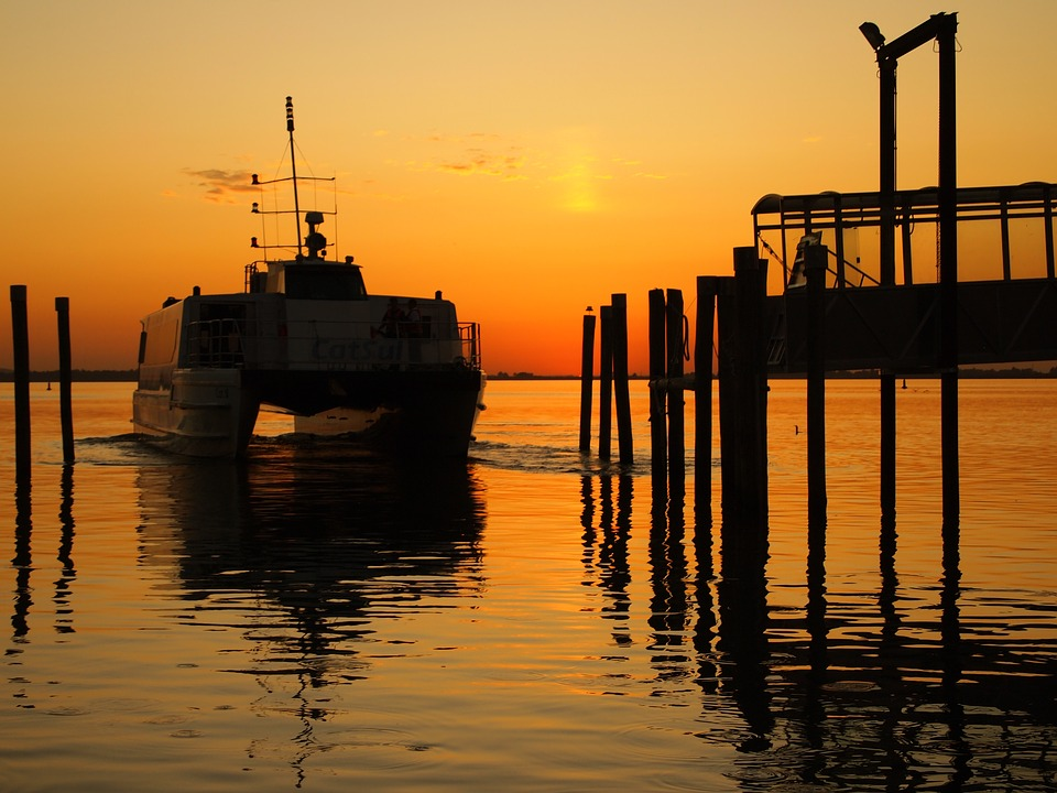 Road, Sunset, Pier, Boat, Catamaran, Silhouette, Orange
