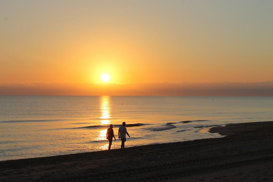 Dawn, Sun, The Sunset, Orange Sky, Night, People