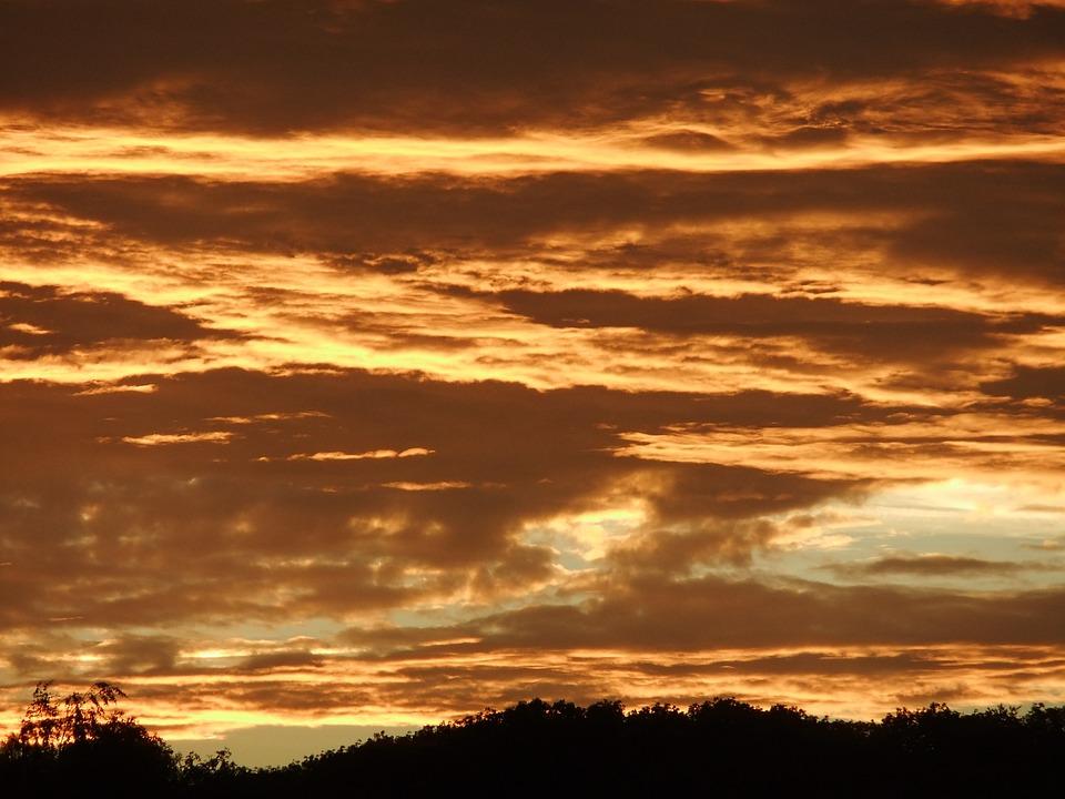 Sky, Clouds, Dramatic, Sunset, Orange Sky