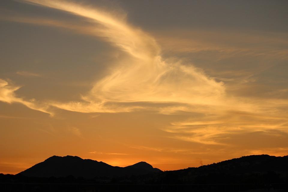 Sky, Cloud, Sunset, Mountains, Orange, Nero, Wind