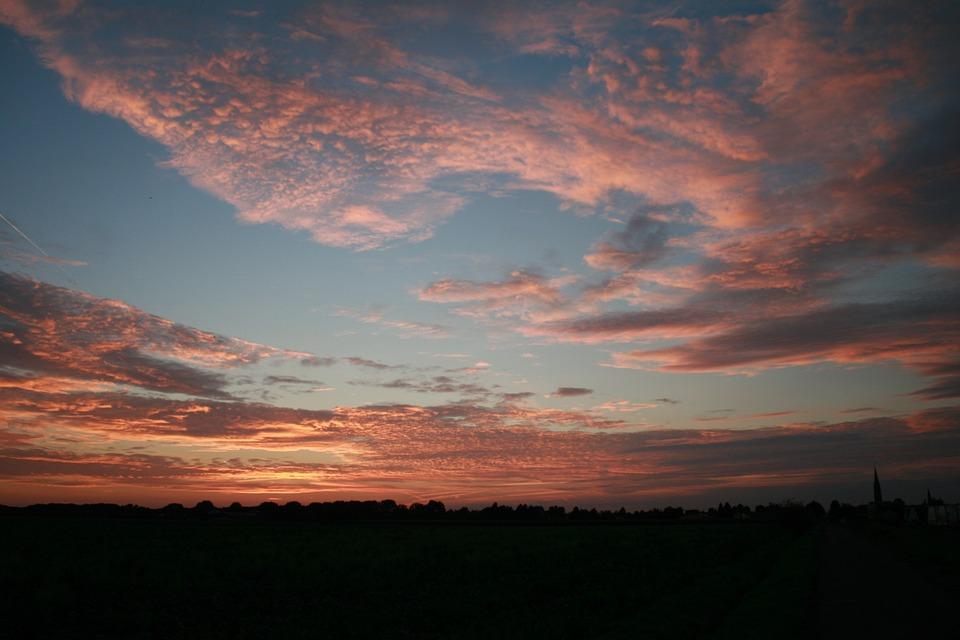 Sun, Sunset, Summer, Red, Orange, Red Blue