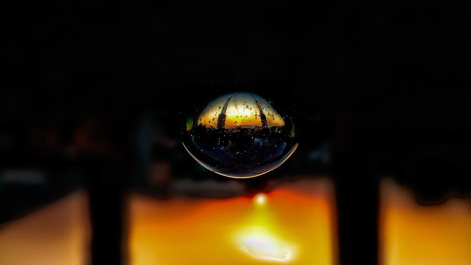 Sunset, Glass Ball, Sun, Sky, Orange, Evening