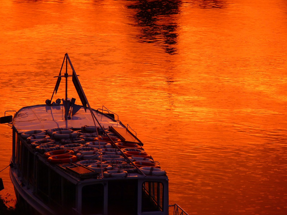 Boot, Water, Sunset, Red, Orange, Afterglow, Mood