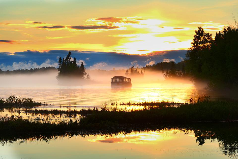 Sunset, Landscape, Evening, Water, Pontoon, Orange