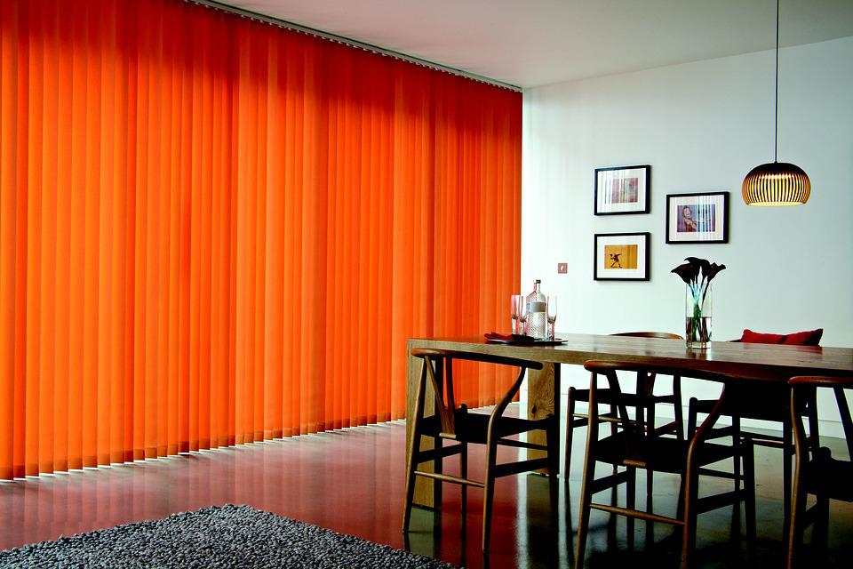 Drapes, Vertical, Orange Tree, Living Room
