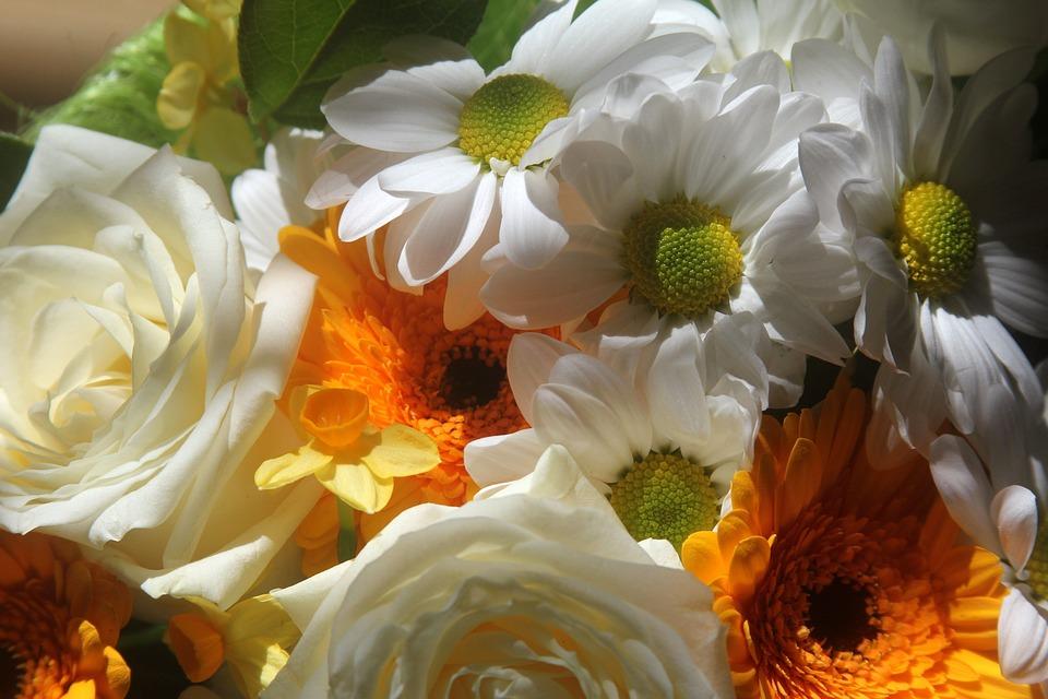 Bouquet Of Flowers, Bouquet, White, Orange, Yellow