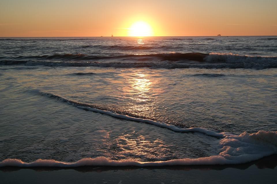 Sunrise, Sea, Beach, Yellow, Orange, Wave, Water, Sky