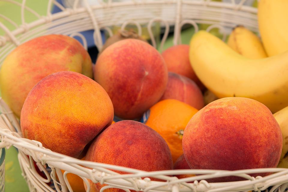 Peaches, Fruit, Fruit Basket, Bananas, Apple, Oranges