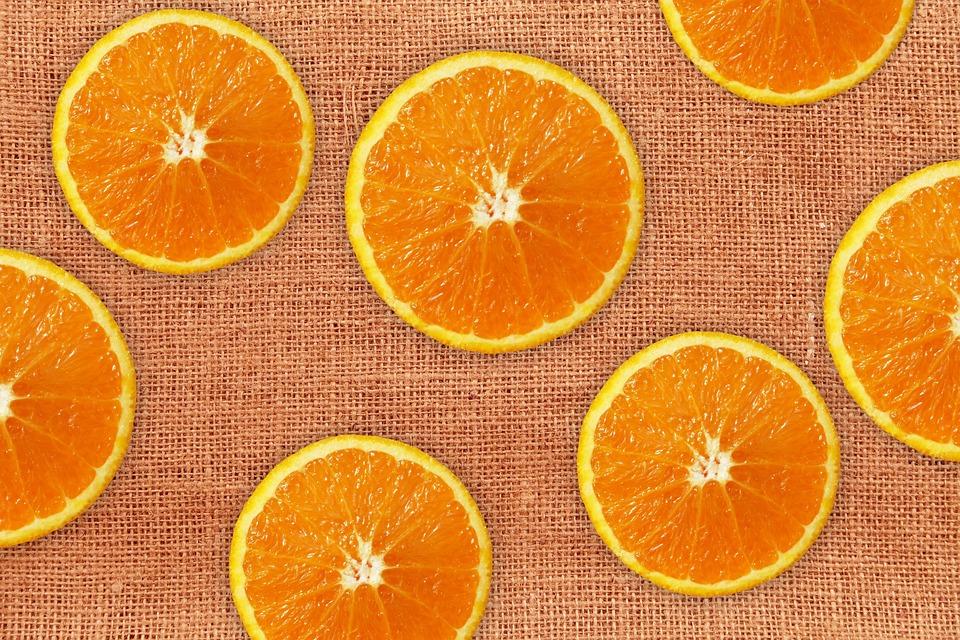 Oranges, Discs, Fruit, Burlap, Texture, Pattern