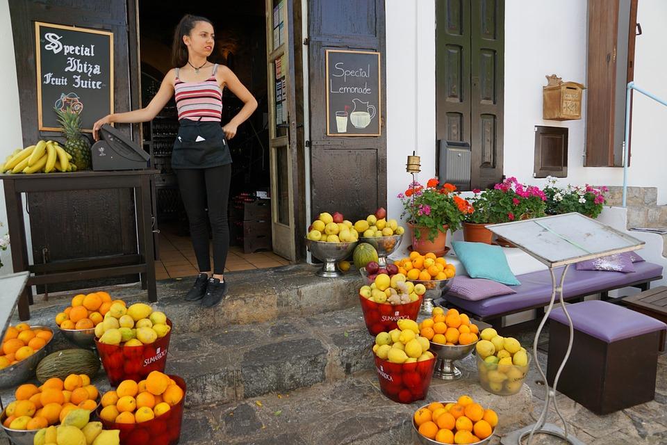 Oranges, Juice, Cafe, Sell, Girl, Slim, Pretty, Healthy