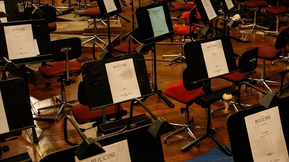 Orchestra, Music Stand, Music, Orchestra Pit, Opera
