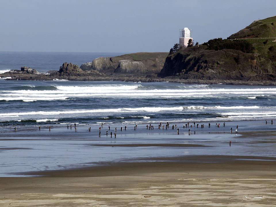 Agathe Beach, Newport, Oregon, Usa, Lighthouse, People