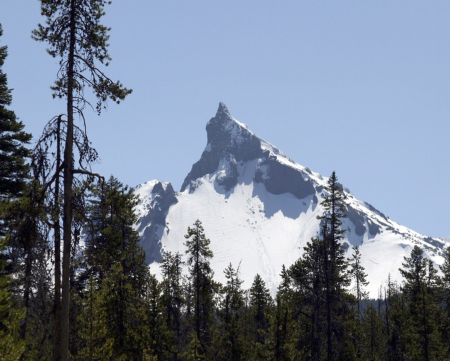 Mountain, Mount Thielsen, Oregon, Usa, Snow Caped