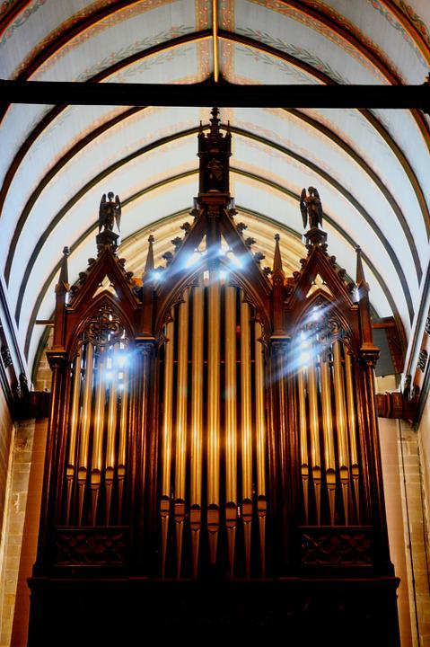 Church, Organ, Light, Vitreous, Brittany
