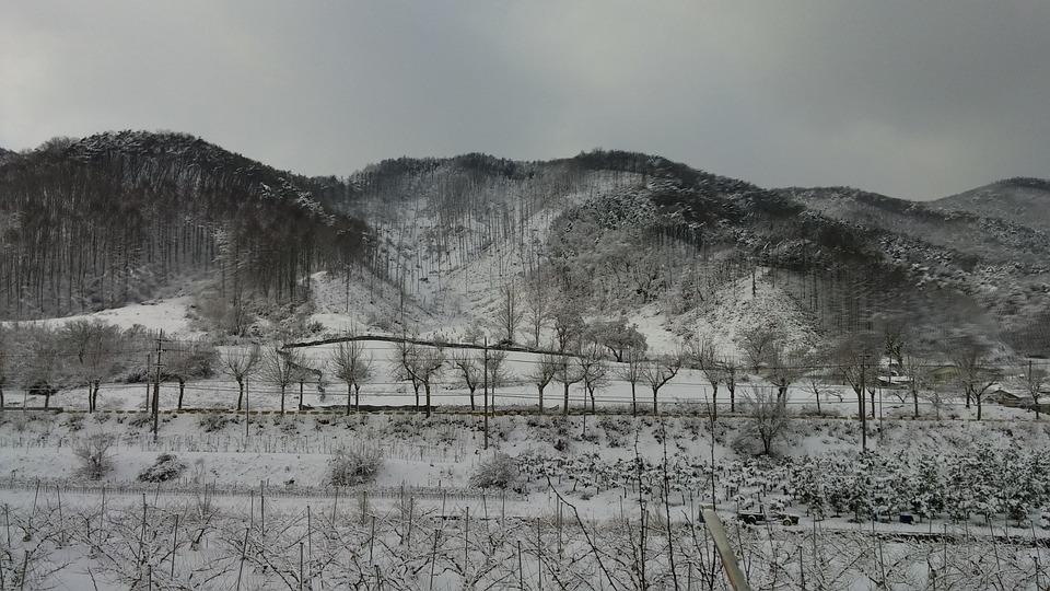 Winter, Ink Painting, Landscape, Snow, Oriental