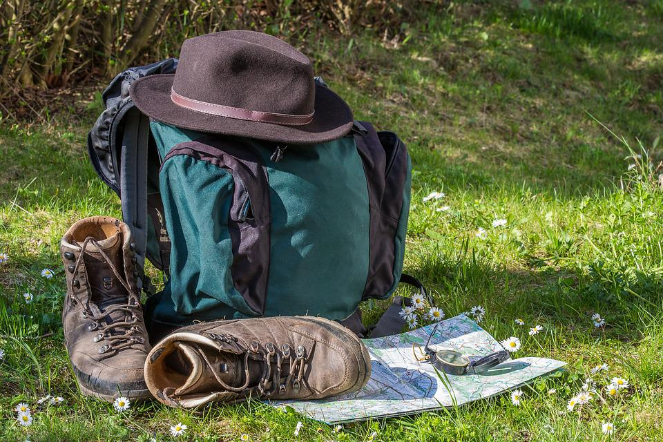 Hiking, Map, Orientation, Hiking Shoes, Hat, Backpack