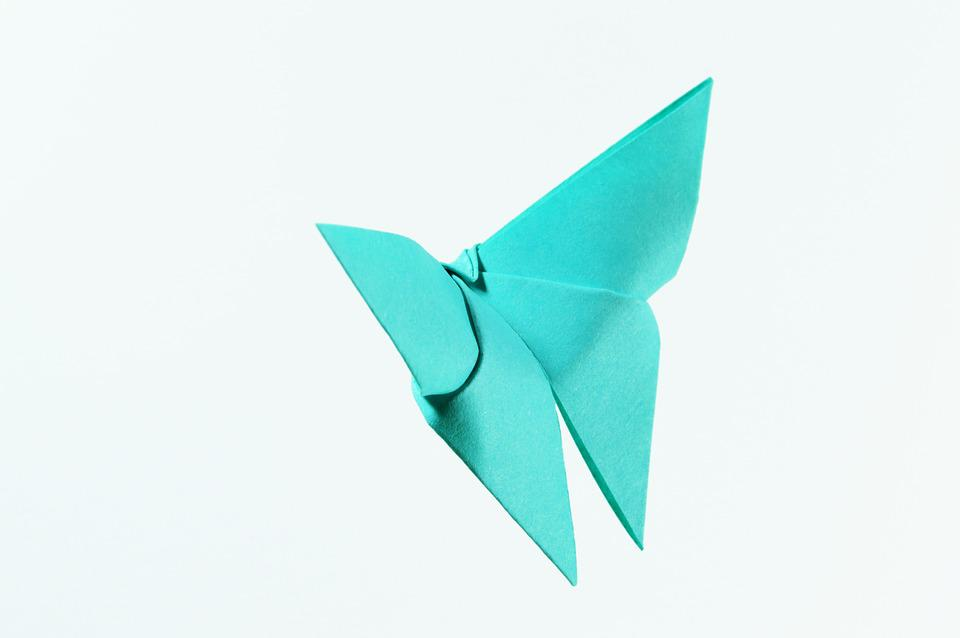 Origami, Isolated, Approach, Decoration, Blue, Green