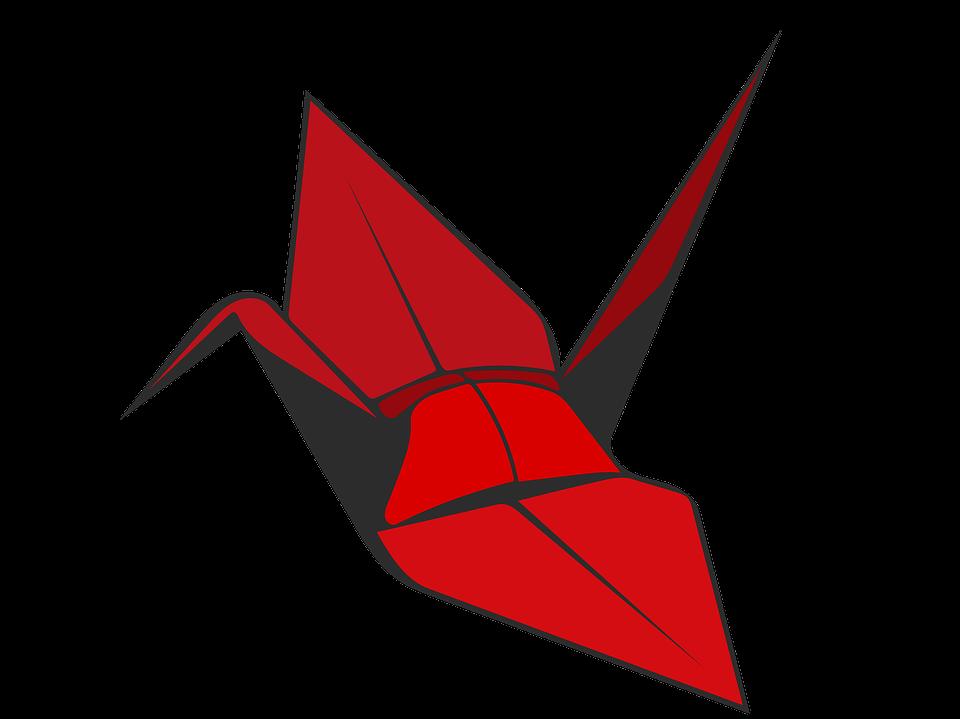 Origami Crane Red Bird Paper Decoration Symbol