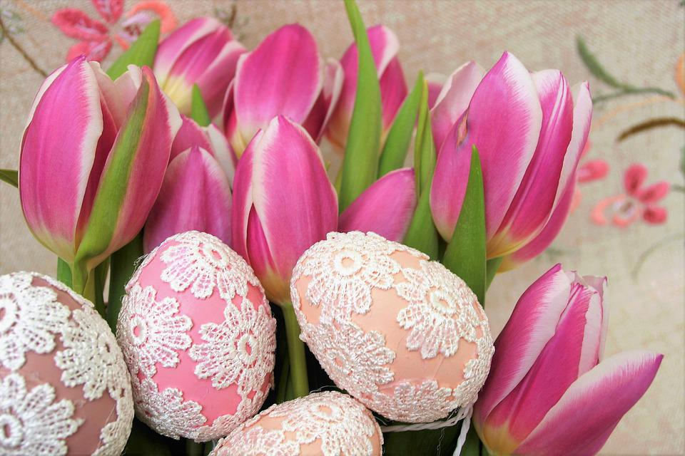 Tulips, Easter Eggs, Eggs, Ornament, Decoration